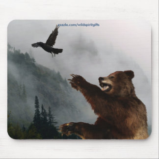 Grizzly Bear & Raven Fantasy Wildlife Mousepad Mousepads