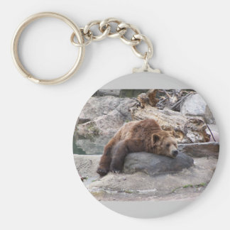 Grizzly Bear Resting On Rock Basic Round Button Key Ring