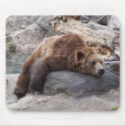 Grizzly Bear Resting On Rock Mouse Mat