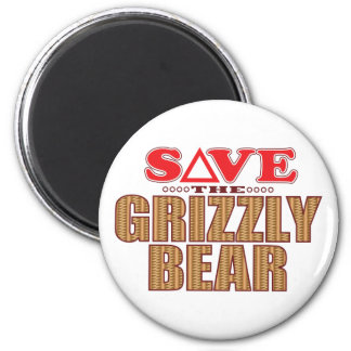 Grizzly Bear Save 6 Cm Round Magnet
