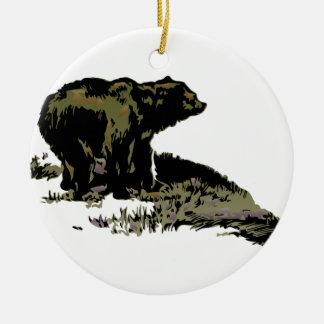 Grizzly Bear Shadow Round Ceramic Decoration