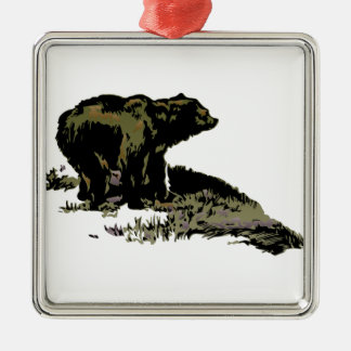 Grizzly Bear Shadow Silver-Colored Square Decoration