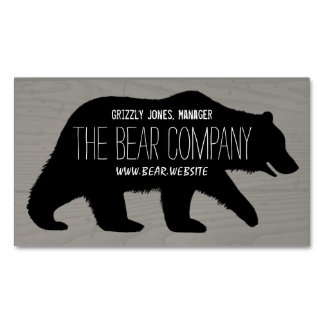 Grizzly Bear Silhouette Magnetic Business Card