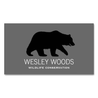 Grizzly Bear Silhouette Magnetic Business Cards