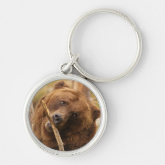 grizzly bear Silver-Colored round key ring