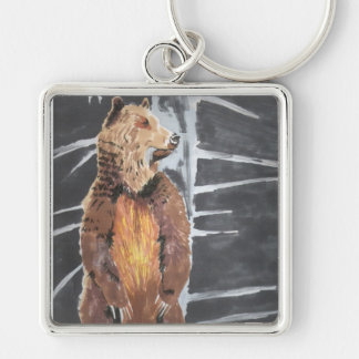 Grizzly Bear Silver-Colored Square Key Ring
