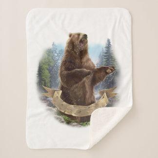 Grizzly Bear Small Sherpa Fleece Blanket