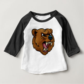 Grizzly Bear Sports Mascot Angry Face Baby T-Shirt