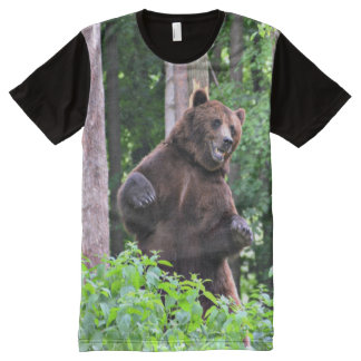 Grizzly Bear Standing Tall In The Woods All-Over Print T-Shirt