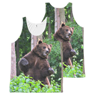 Grizzly Bear Standing Tall In The Woods All-Over Print Tank Top