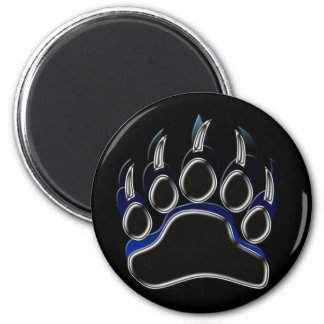 Grizzly Bear Steel Black Blue Paw Graphic 6 Cm Round Magnet