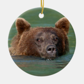 grizzly bear swimming christmas ornament