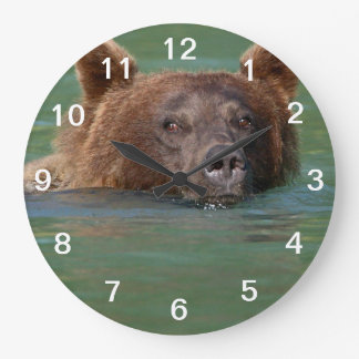 Grizzly Bear Swimming Wall Clock