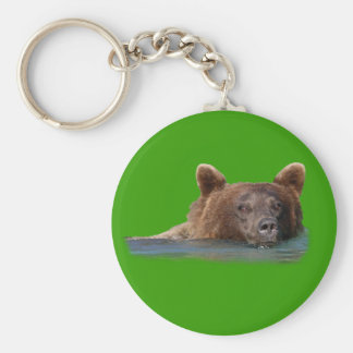 Grizzly Bear Swimming Keychain