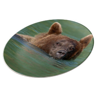 Grizzly Bear Swimming Porcelain Plate