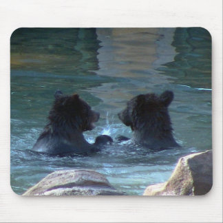 Grizzly Bear Swimming Party Mousepad