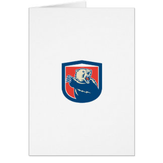 Grizzly Bear Swiping Paw Shield Retro Greeting Card