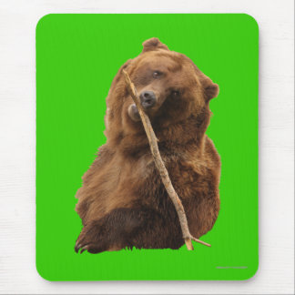 Grizzly Bear with Stick Mouse Pad