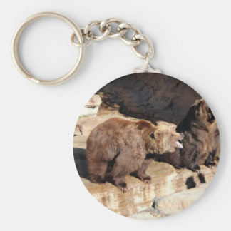 Grizzly Bears Basic Round Button Key Ring