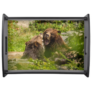 Grizzly Bears Play Fighting Serving Tray
