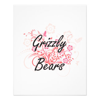 Grizzly Bears with flowers background 11.5 Cm X 14 Cm Flyer
