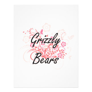 Grizzly Bears with flowers background 21.5 Cm X 28 Cm Flyer