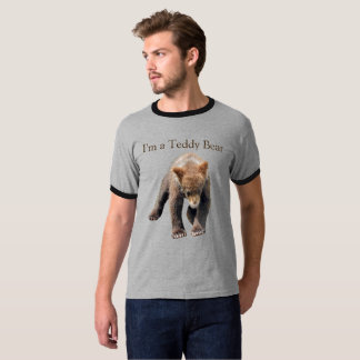 Grizzly cub on men's ring T shirt