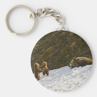 Grizzly Family Basic Round Button Key Ring