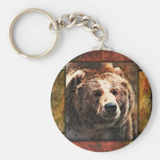 Grizzly Framed Basic Round Button Key Ring