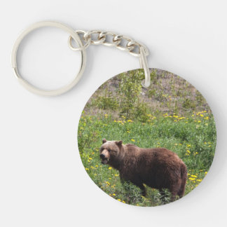 Grizzly in the Dandelions Acrylic Key Chains