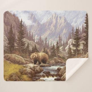 Grizzly Landscape Medium Sherpa Fleece Blanket