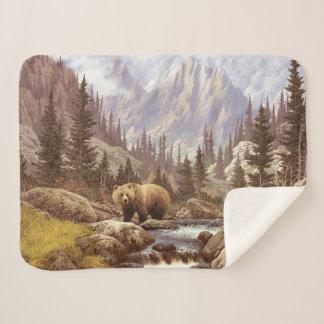 Grizzly Landscape Small Sherpa Fleece Blanket
