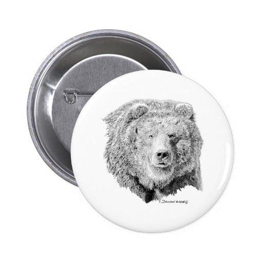 Grizzy Bear 6 Cm Round Badge