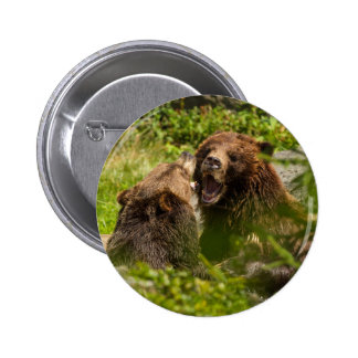 Grizzy Bears Play Fighting 6 Cm Round Badge