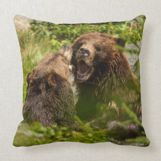 Grizzy Bears Play Fighting Throw Pillow