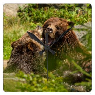 Grizzy Bears Play fighting Wallclocks