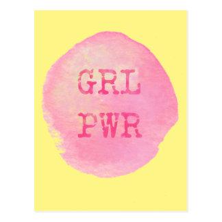 GRL PWR PINK & YELLOW POSTCARD