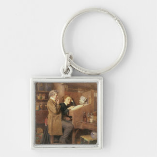 Grocer and wife, 1868 Silver-Colored square key ring