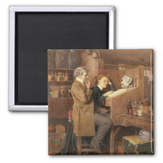 Grocer and wife, 1868 square magnet