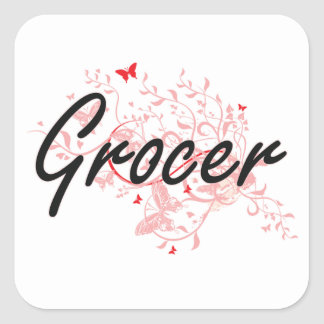 Grocer Artistic Job Design with Butterflies Square Sticker