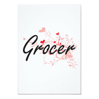 Grocer Artistic Job Design with Hearts 9 Cm X 13 Cm Invitation Card