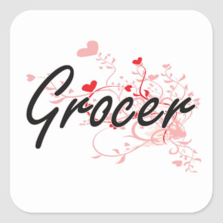 Grocer Artistic Job Design with Hearts Square Sticker