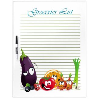 Groceries List 6  Dry Erase Board