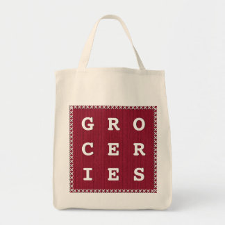 GROCERIES  -  Red Knit Text Template Grocery Tote Bag