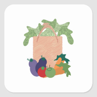 Grocery Bag Square Sticker