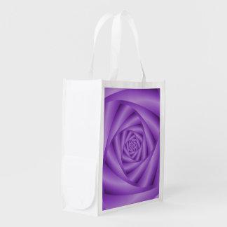 Grocery Bag  Violet Spiral