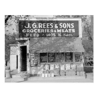 Grocery & Feed Store, 1938 Postcard