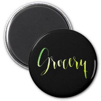 Grocery Green Leaf Black Planner Home Office Glam 6 Cm Round Magnet