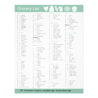 Grocery List of food, paper, cleaning products etc Flyer