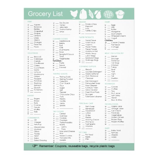 Grocery List of food, paper, cleaning products etc